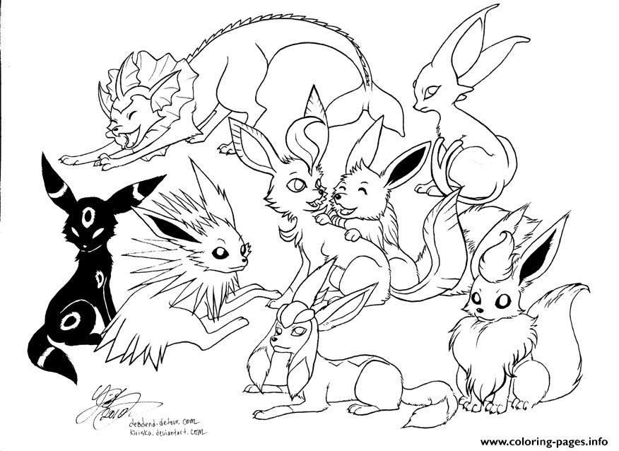 Print Pokemon Eevee Evolutions Coloring Pages