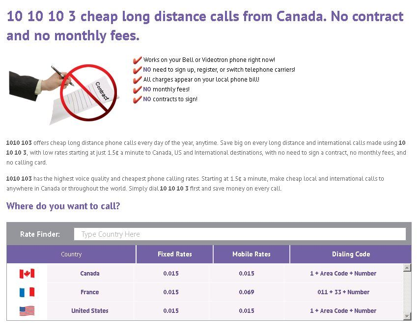 1010 103 provides cheap local and international long distance