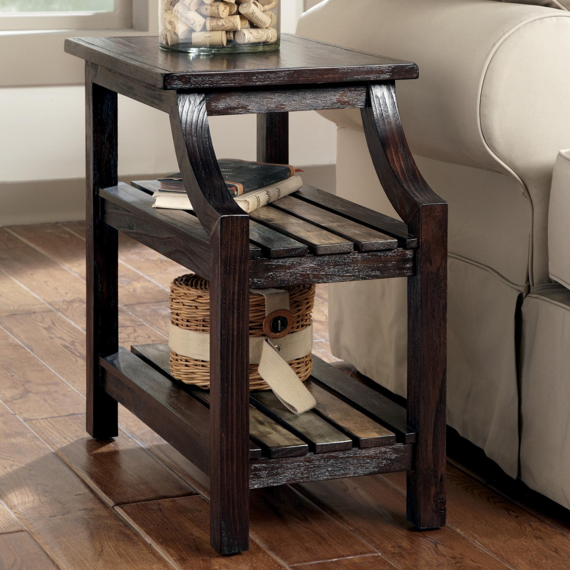 Mestler Chairside End Table By Signature Design By Ashley Becker Furniture Rustic Design Great Color Co Chair Side Table Ashley Furniture Rustic End Tables