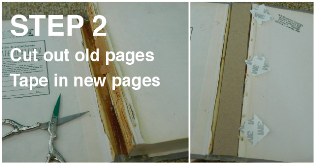 Recycling old book into new journal.  Step 2 is how I also,approach this.  http://itsalisa.com/2013/06/08/how-to-turn-an-old-book-into-a-new-journal/