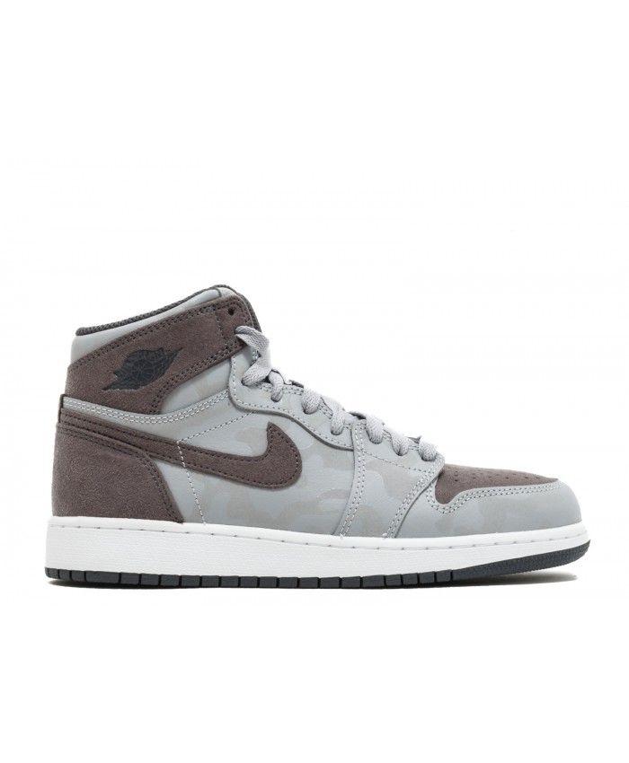 6ce97e28d250 Air Jordan 1 Retro High Prem BG Camo Wolf Grey Dark Grey White 822858 027