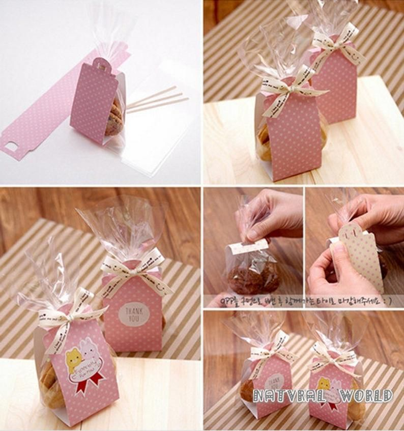 Polka punto Cake&Cookie bolsa set Cellophane Bolsas Cookies Wrappers -Snacks,Fiesta, Favor, Regalo, Boda, Pan Hecho a mano Paquete de bolsa de plástico