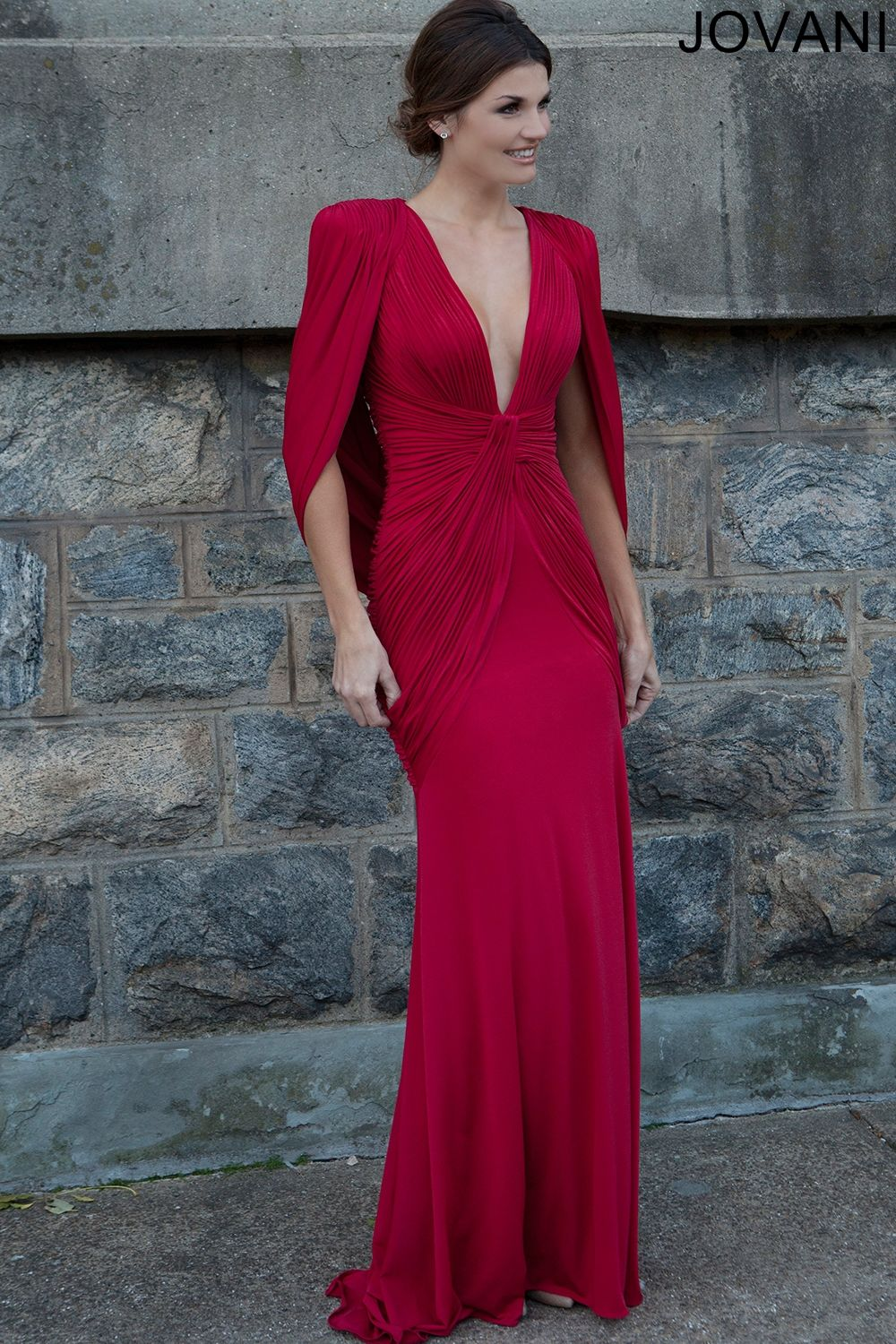 Long red dress for wedding  Plunging Neckline Red Dress   Evening Dresses  Wedding