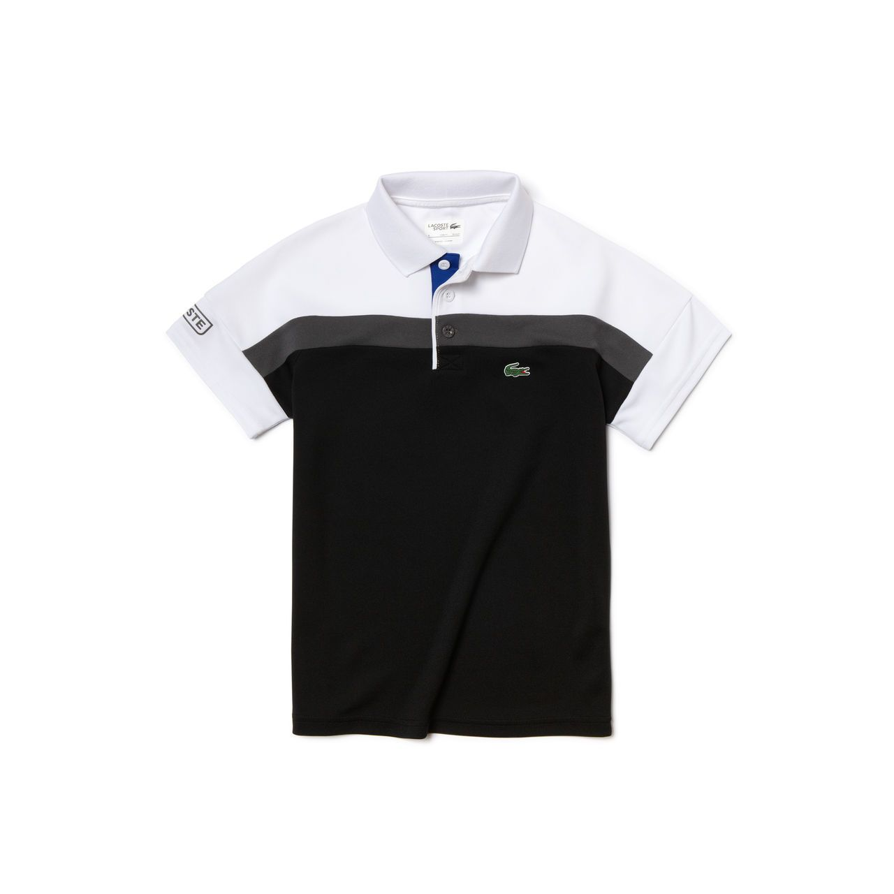 Designed for budding tennis players, this Lacoste Sport polo in run-resistant ultra-dry piqué features an iconic color block design. In this comfortable piece with seamless shoulders, your little champion is free to play, play, play.