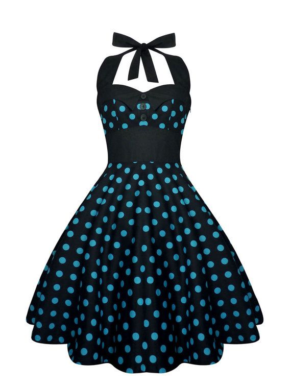 8624afb97 Rockabilly vestido Pin Up lunares negro por LadyMayraClothing