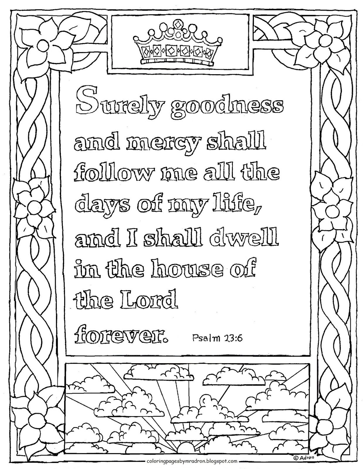 Printable Psalm 23 6 Coloring Page Goodness And Mercy