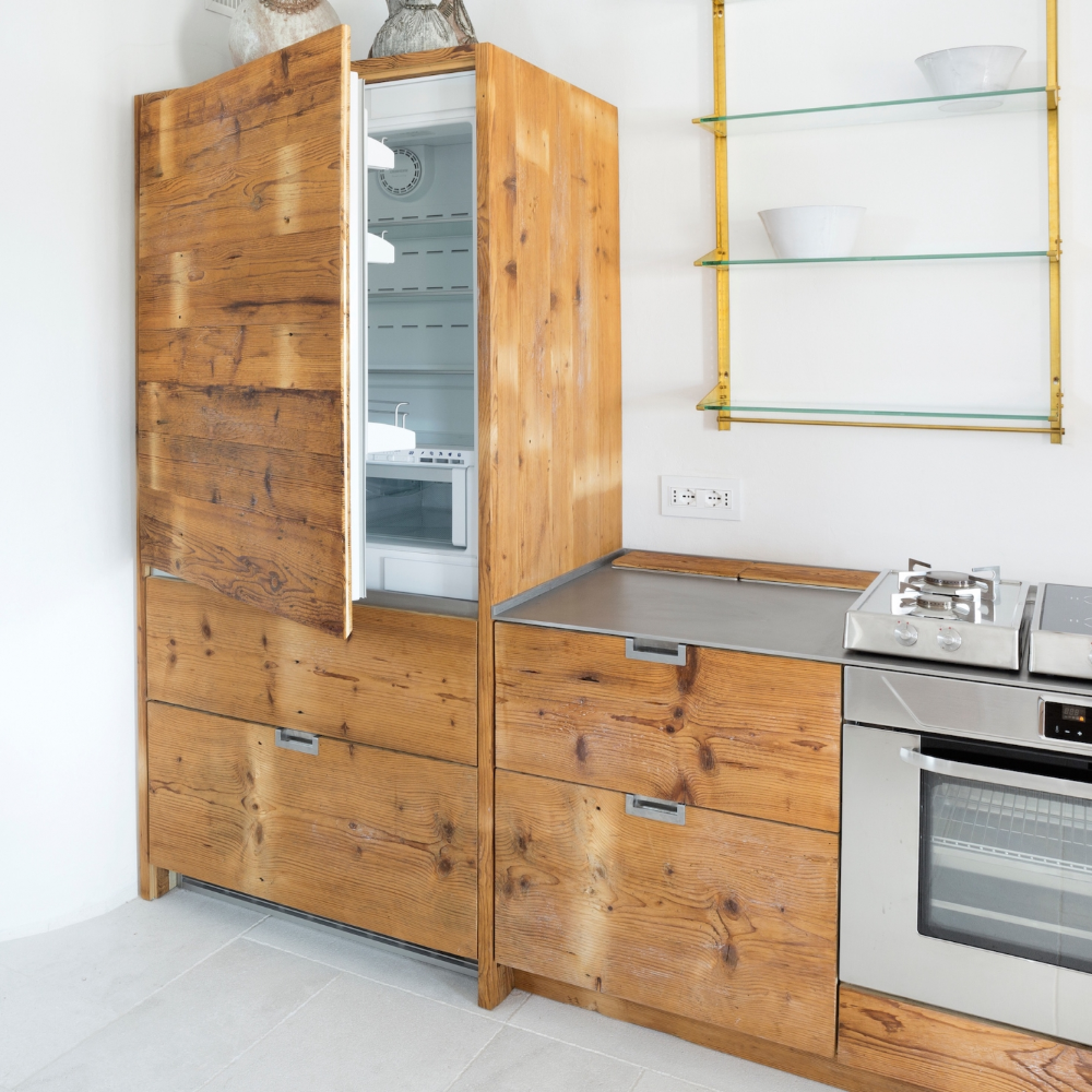 Kitchen Of The Week A Katrin Arens Design In Sardinia With 250 Year Old Wood Remodelista In 2020 Reclaimed Wood Kitchen Old Wood Reclaimed Wood Cabinet