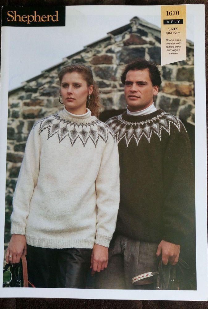 Men\'s & Women\'s Fairisle Yoke Sweater Shepherd 1670 knitting pattern ...