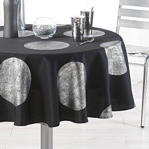63 Inch Round Tablecloth Black With Silver Crystal Circle Stain Resistant Washable Liquid Spills Be Tablecloths For Sale Dining Table In Kitchen Table Cloth