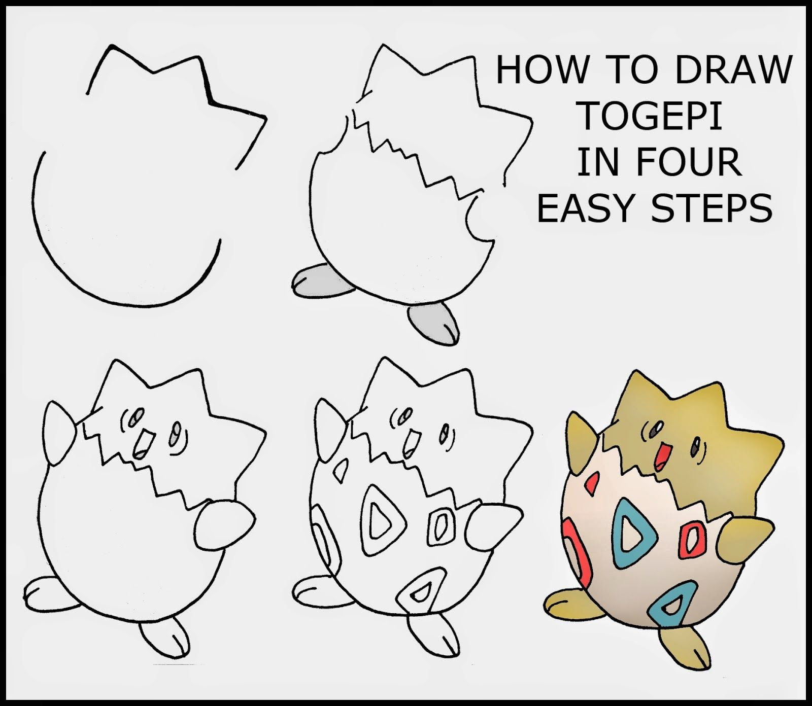 How to draw togepi in four stages