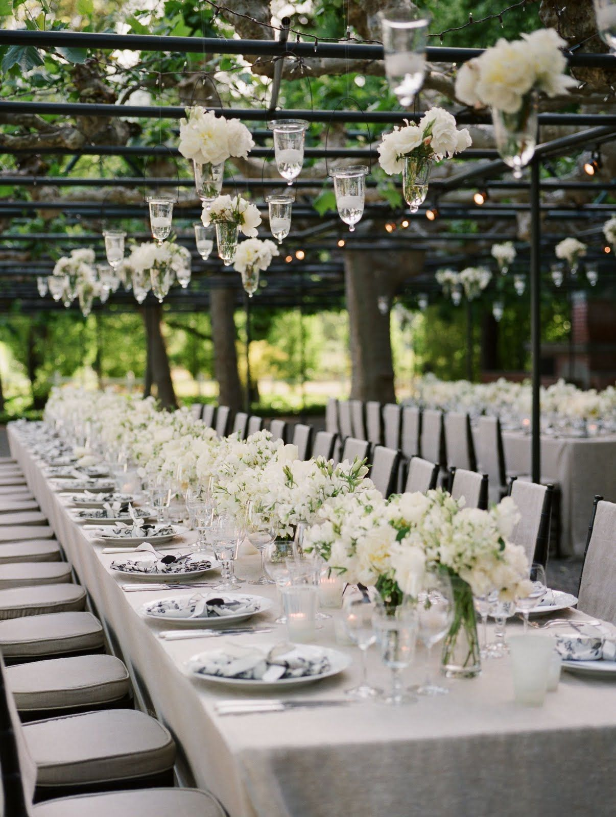 Garden wedding decorations night  Having your dinner under a structure like this is perfect drape the