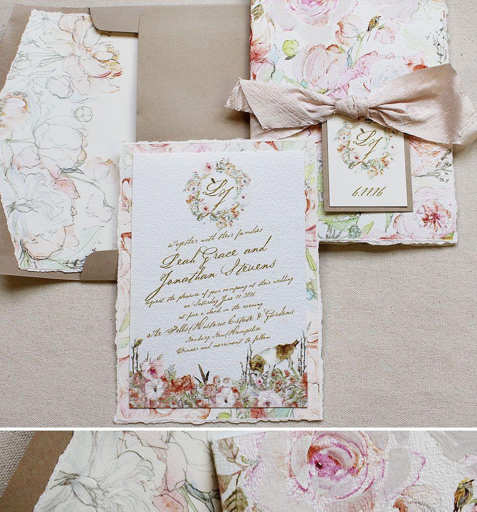 Rustic Fl Wedding Invitations