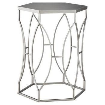Threshold Metal Accent Table Silver I Target Decoration