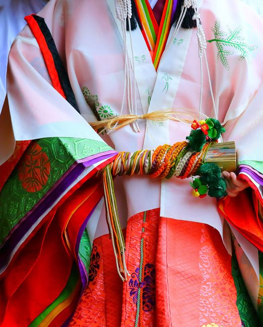 A woman dressed in junihitoe at the  Aoi Festival,Kyoto