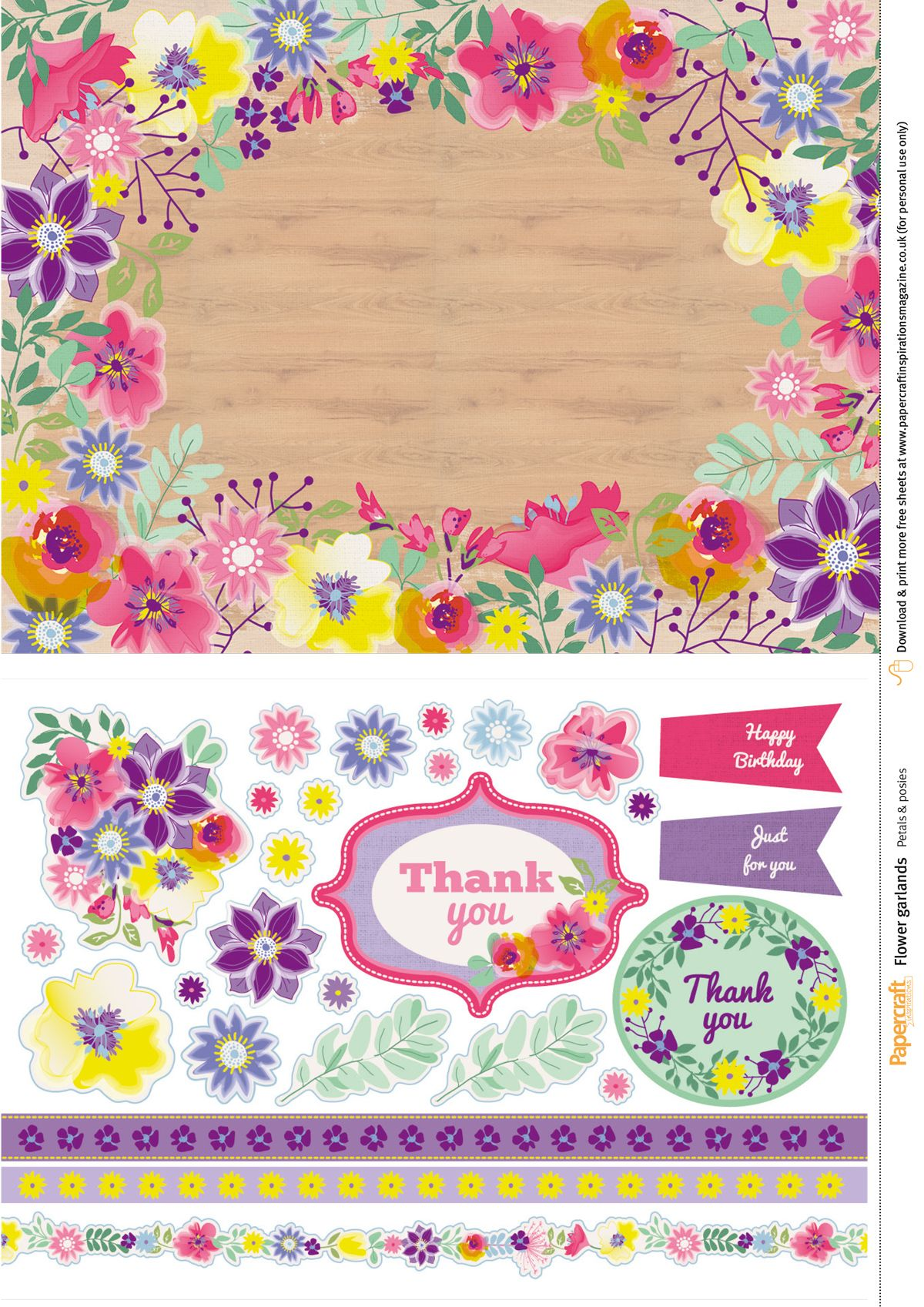 Flower garland free papers from Papercraft Inspirations magazine