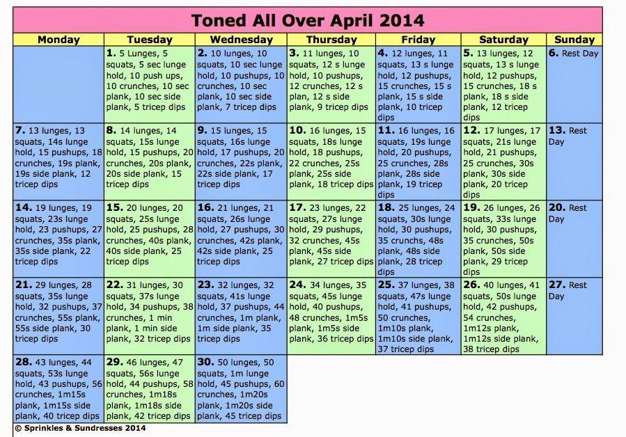 Toned All Over April Workout Calendar ~ Sprinkles  Sundresses
