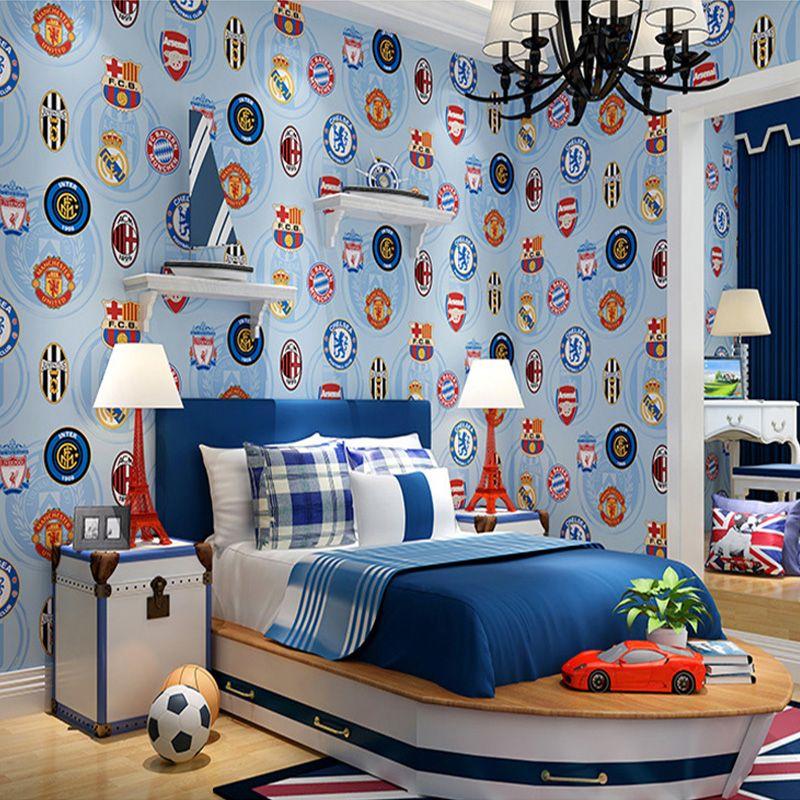 Children Football Wallpaper For Walls Roll Children S Rooms Bedroom Non Woven Blue Cartoon Wall P Children Room Boy Large Wall Decor Bedroom Wall Decor Bedroom