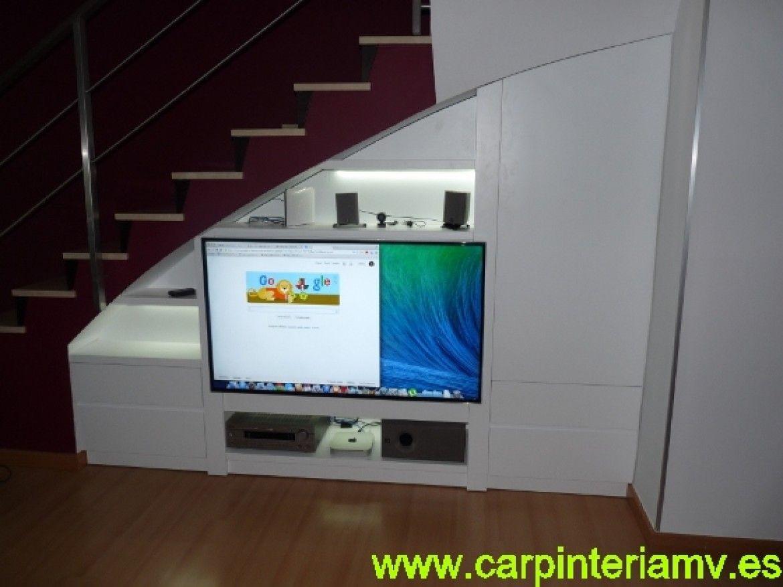 Mueble Multimedia A Medida Debajo De La Escalera Barra  # Muebles Debajo De Gradas