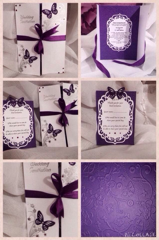 Items Similar To Cadbury Purple Butterfly Themed Wedding Invitation Gatefold Style Matching RSVPs Available Too On Etsy