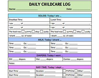 Toddler Log Printable  Nanny Log  Babysitter Report  Caregiver