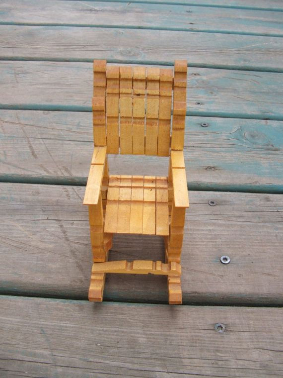 Sedie Fatte Con Mollette Di Legno.Vintage Wooden Clothespin Doll Rocking Chair Tramp Folk Art