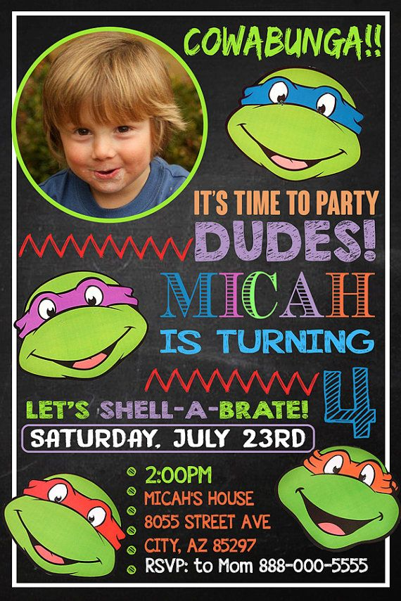 Ninja Turtle Invitation Ninja Turtles Birthday by fiestaprintable ...