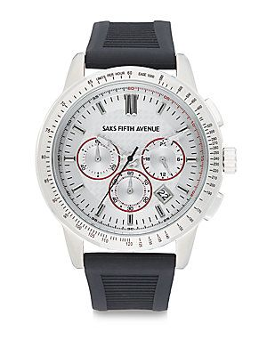 Saks Fifth Avenue Stainless Steel Chronograph Strap Watch - Silver - S