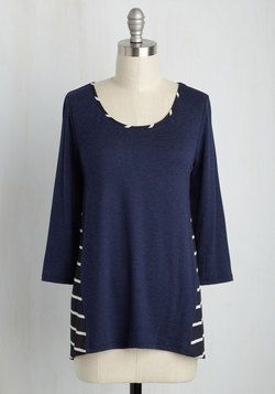 Hear, Sheer Top. You exude confidence already, but after donning this heathered navy top, youll be unstoppable. #blue #modcloth
