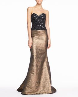 B2D80 Carolina Herrera Beaded Sweetheart Tweed Gown, Black/Gold at NM