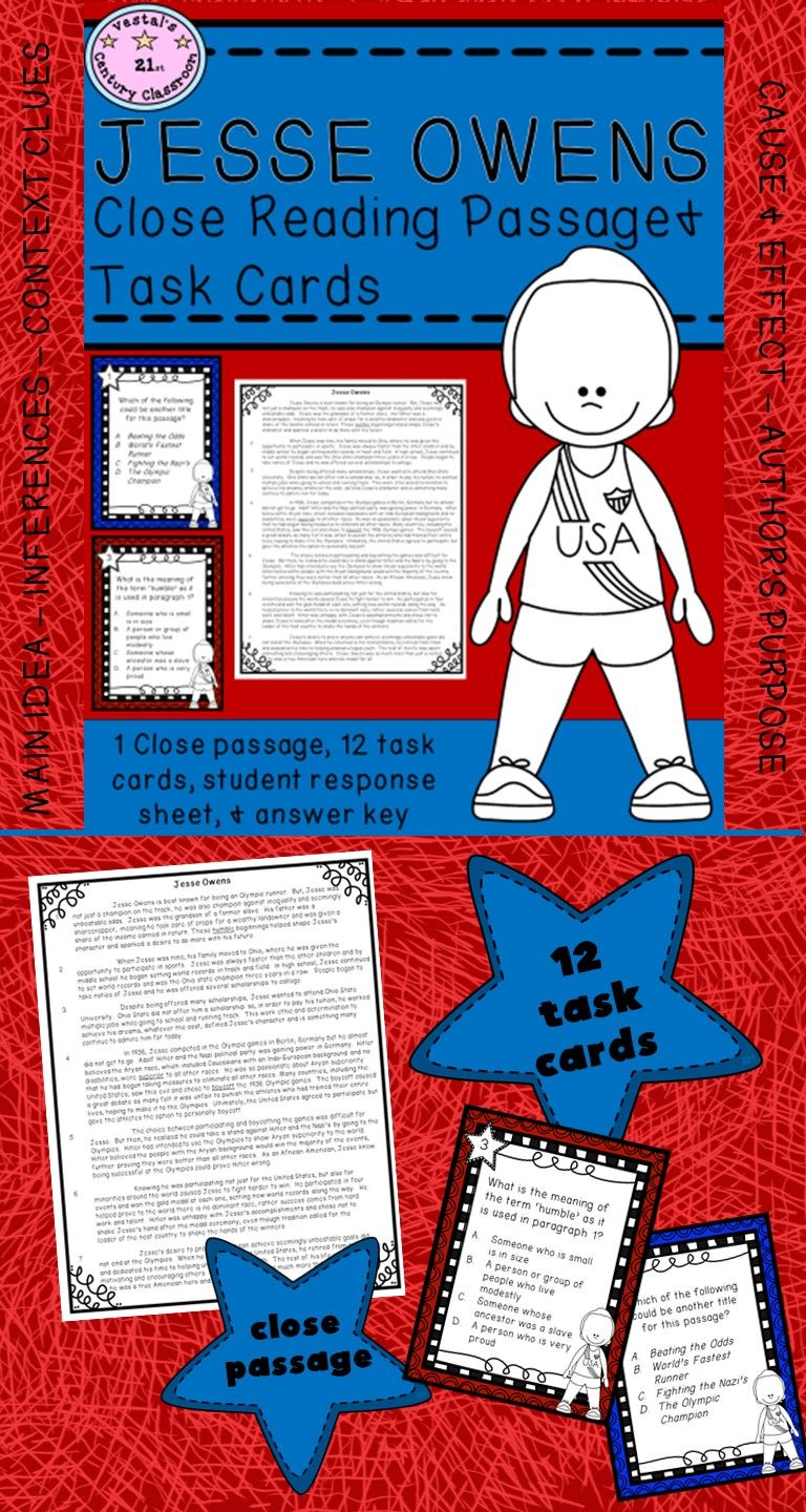 worksheet Jesse Owens Reading Comprehension Worksheets jesse owens reading passages and making inferences close passage task cards are perfect to use during black