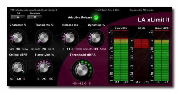 LA xLimit II v1.1.1 AAX RTAS VST3 VST CE WiN Team V.R | Feb 13 2016 | 3.2 MB LA xLimit II is an advanced look ahead, wideband linked-stereo limiter includ