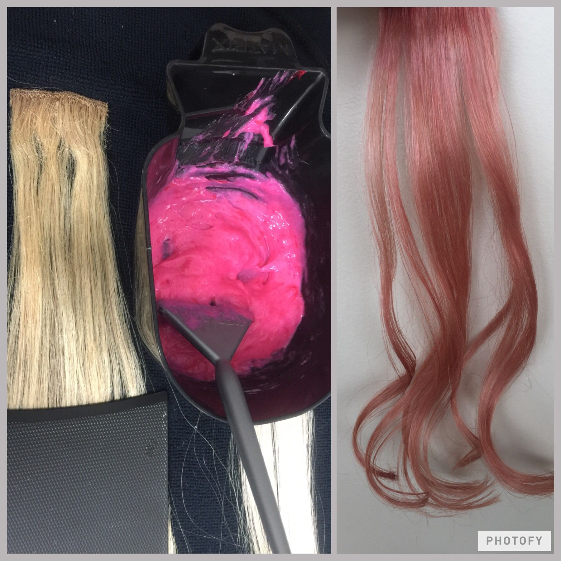 Rose Gold Hair Formula 9brm And A Ribbon Of 6rr Mixed With 20v Applied To Pre Lightened Hair Kenra Color Hair Color Formulas Rose Gold Hair Rose Hair
