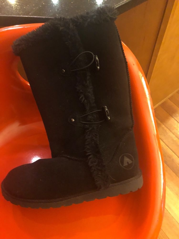 Airwalk Black Womens Faux Suede Fur Lined Boots size 5 Fuzzy Warm Winter 5   fashion 7b3a549753