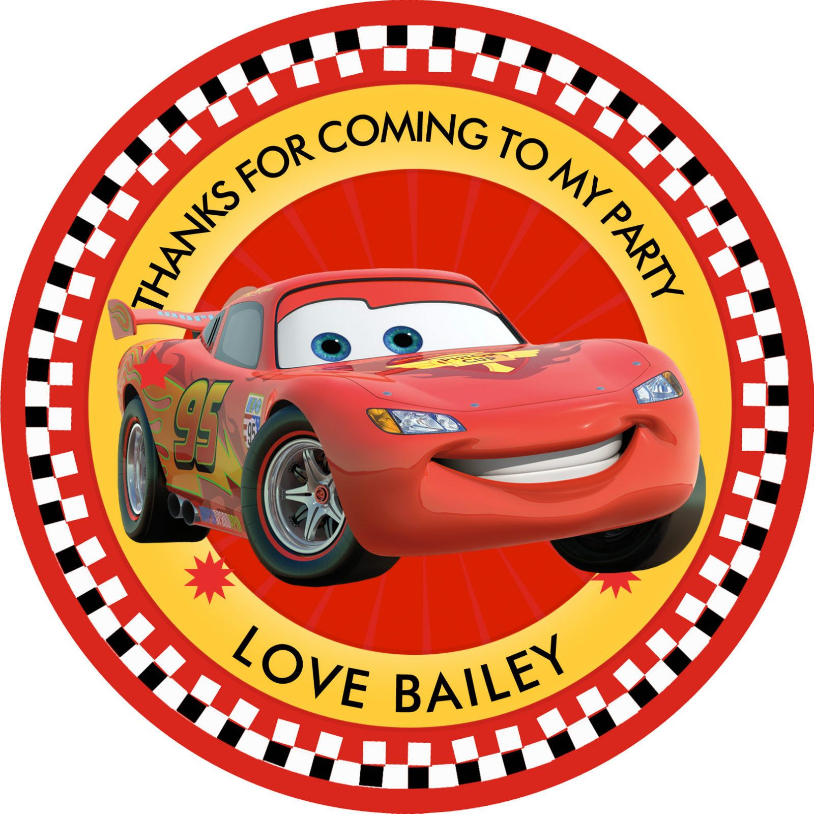 """30 X Personalised Disney Cars Mc Queen 50Mm 2"""" Party"""
