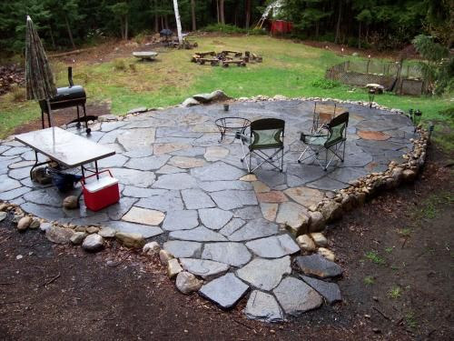 river rock patio designs patio with small stones and river stone edging - Brick Stone Patio Designs