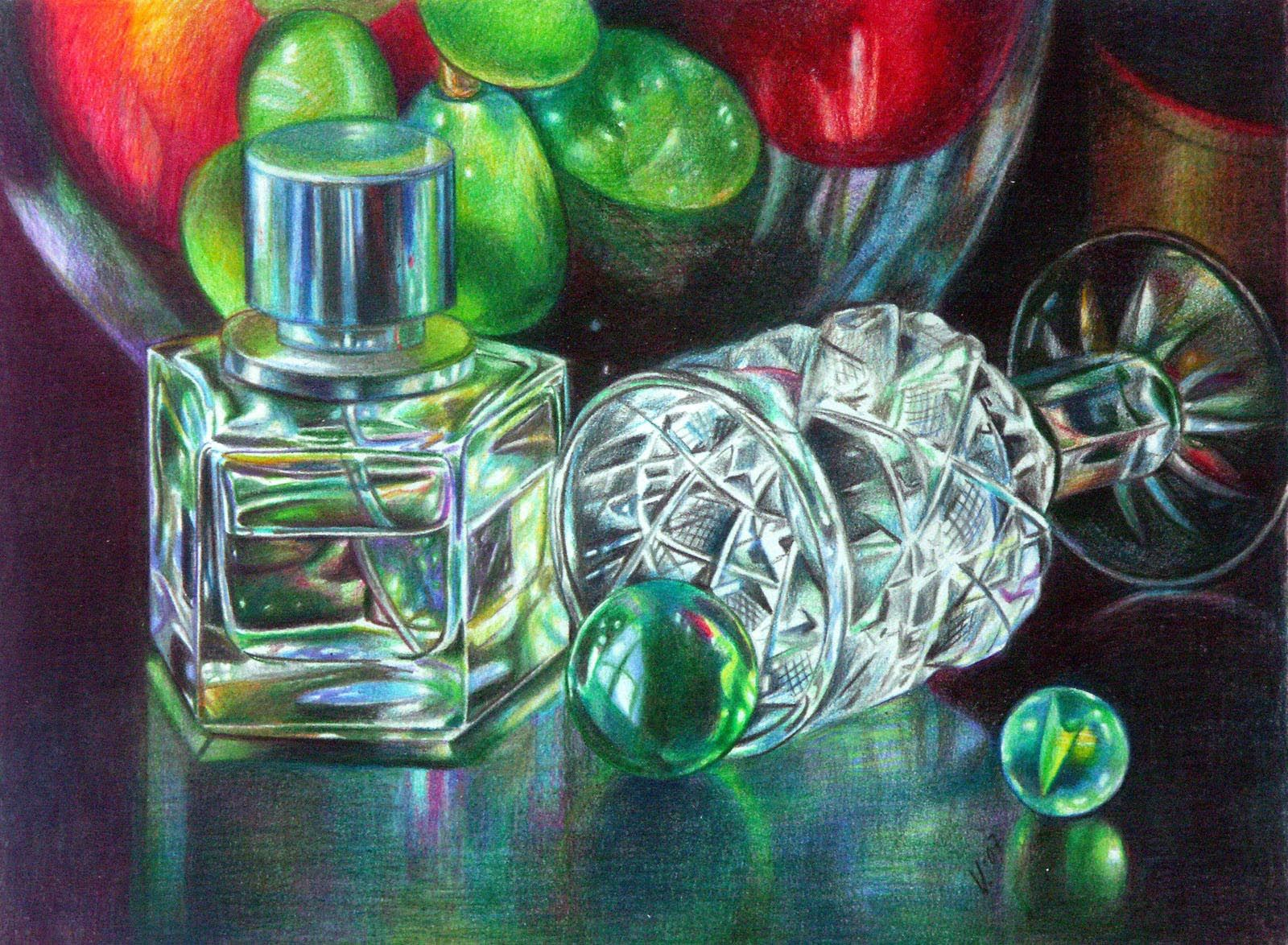Veronica Winters - Fruit and Glass (Colored Pencil), 9x12\
