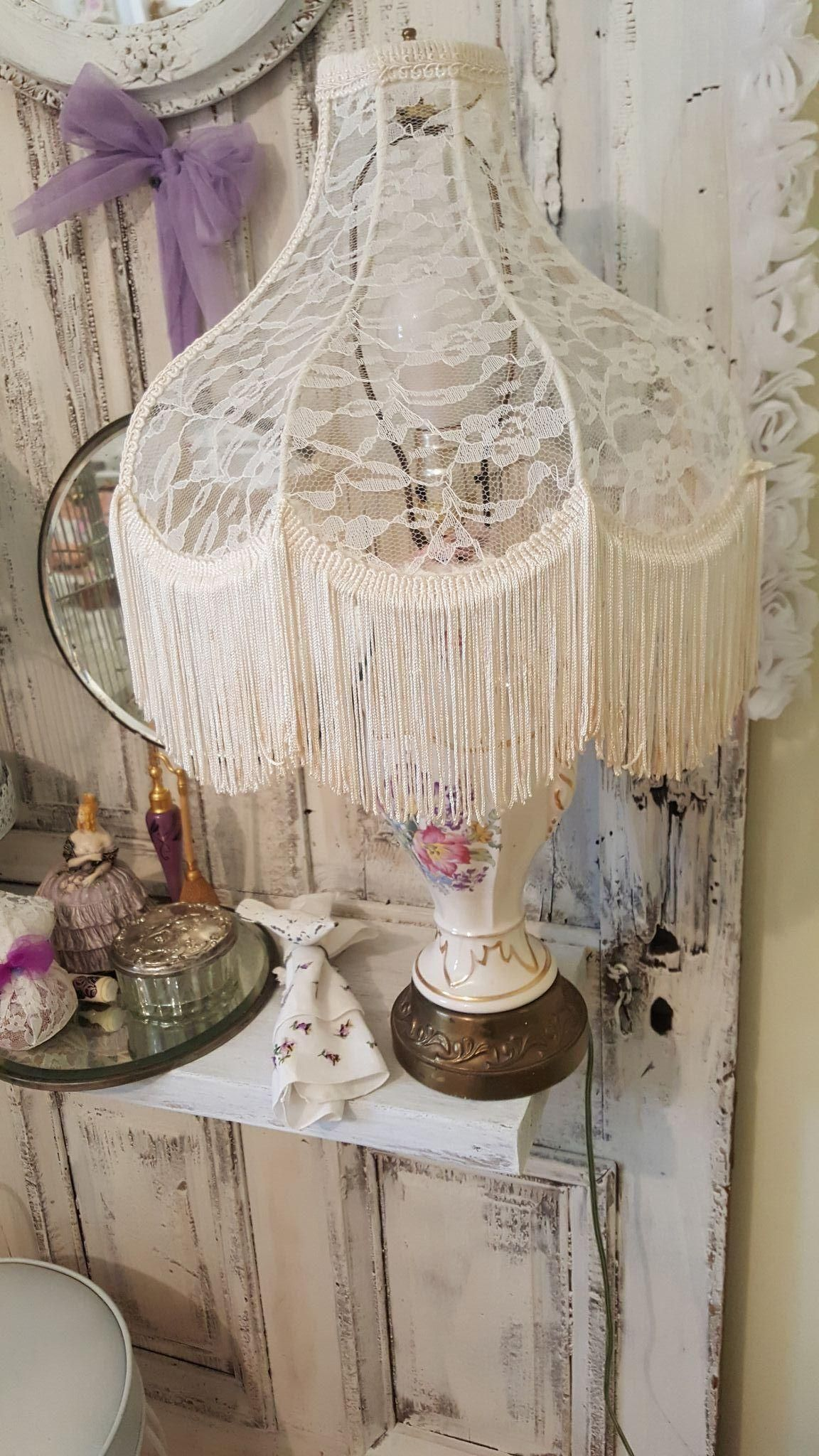 Antique lace and fringe lamp shade restored in shabby french antique lace and fringe lamp shade restored in shabby french style aloadofball Image collections