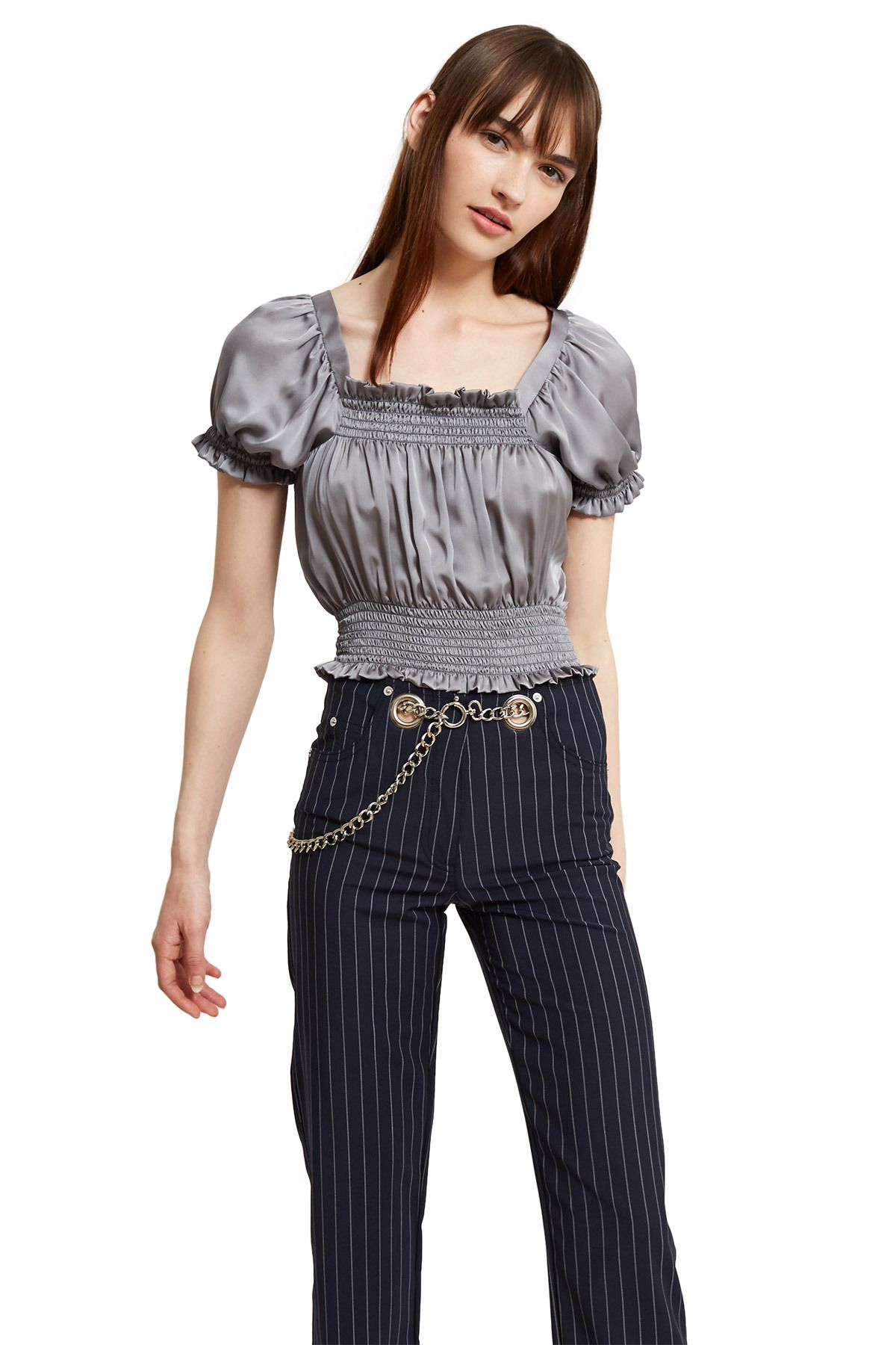 bc9fb06624e ... Smocked Taffeta Crop Top Callipygian's square-neck cropped blouse is  made from a lightweight, silky blend of polyester. Elasticated puff sleeves  and ...