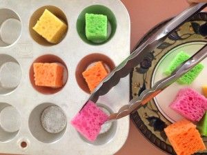 tongs and sponges