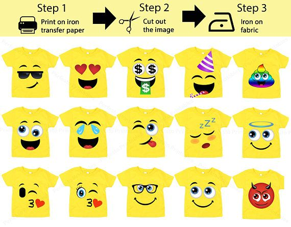 graphic regarding Printable Iron on Transfers named 15 Pack Printable Emoji iron upon transfers / Emoji iron upon
