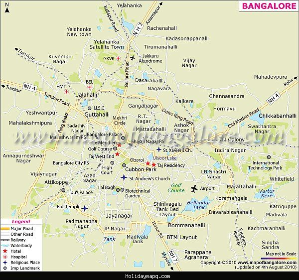 nice bangalore map tourist attractions