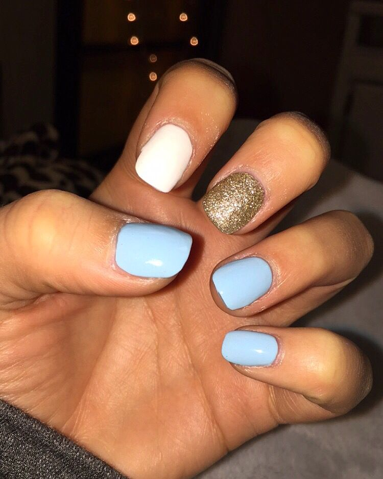 Light blue, white \u0026 gold nails , good for winter or summer