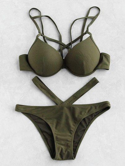ce6956050b Cutout Front Bustier Bikini Set swimsuits modest,swimsuits modest,swimsuits  one piece,swimwear,Women's Swimwear Swimwear,beachwear,clothing,holiday  gifts ...
