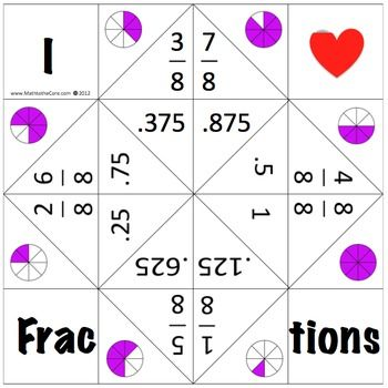 Fun Freebie - Cootie Catcher for Fractions TpT FREE LESSONS - cootie catcher template
