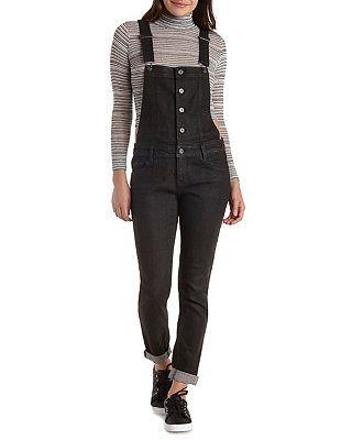 21b401b8d5 Button-Up Black Denim Overalls: Charlotte Russe | Style | Denim ...