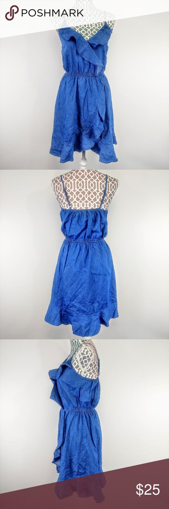 Ruffled Denim Apron Dress By Flow The Label Ripped Dress Denim Ruffle Dress Flutter Sleeve Dress [ 1807 x 1128 Pixel ]