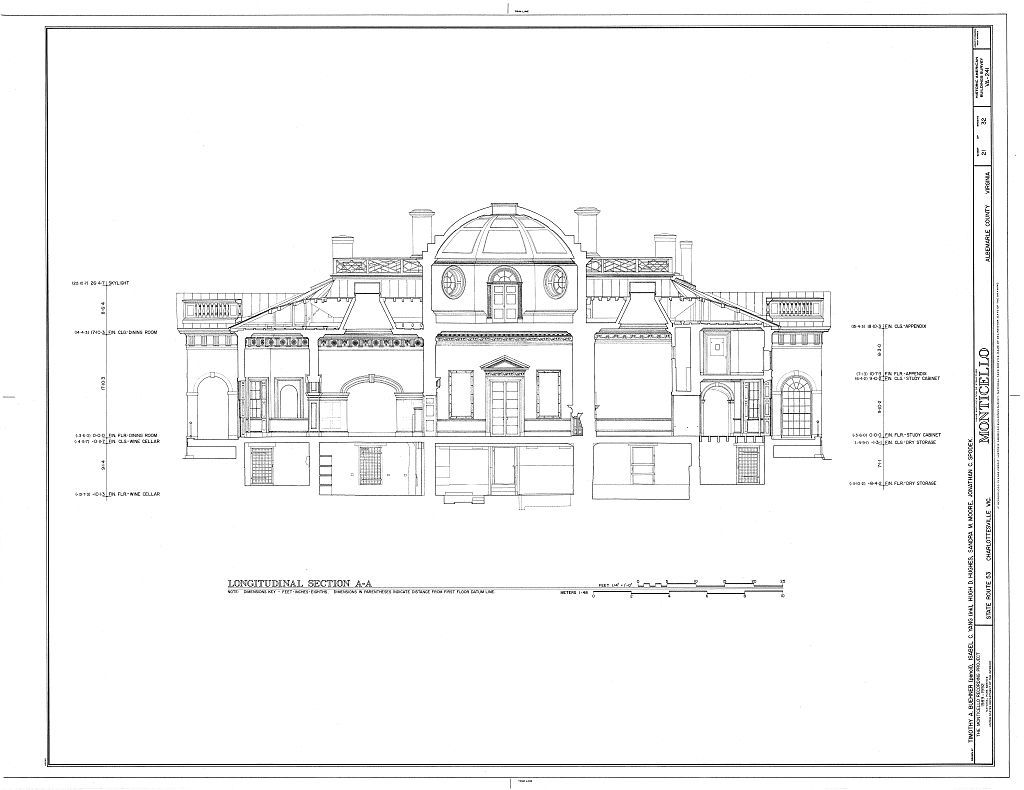 Monticello Section Architecture Blueprints Thomas Jefferson Home Monticello