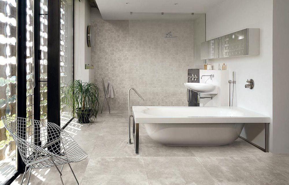 Badkamer betonlook tegels Afwerking Pinterest - baos con mosaicos