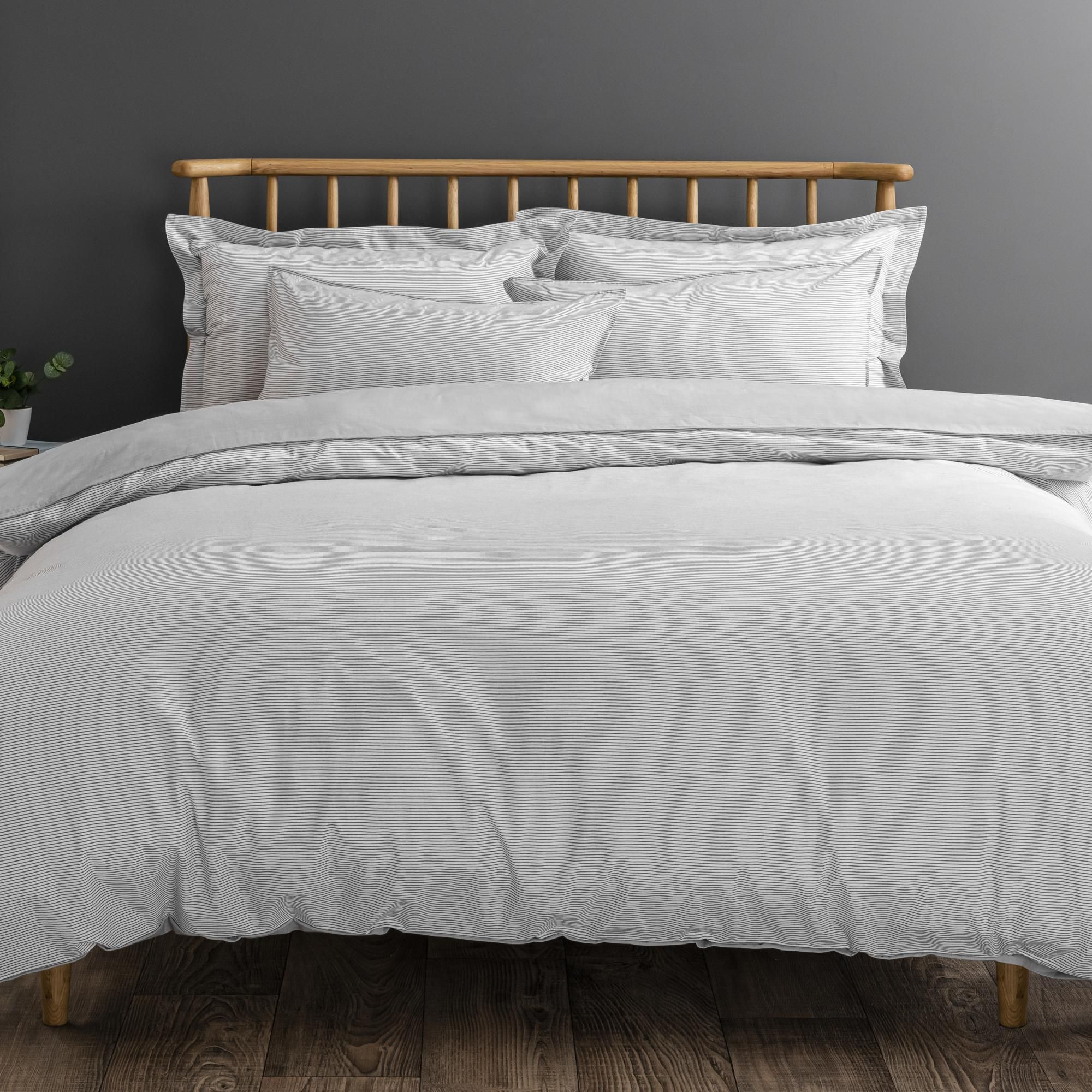 Riviera Grey Stripe 100 Cotton Duvet Cover And Pillowcase Set In 2020 100 Cotton Duvet Covers Duvet Covers Duvet Cover Sizes