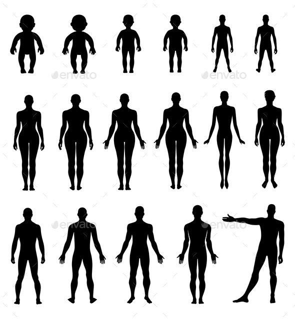 Human Silhouette Set Silhouette Illustration Silhouette People Human Silhouette